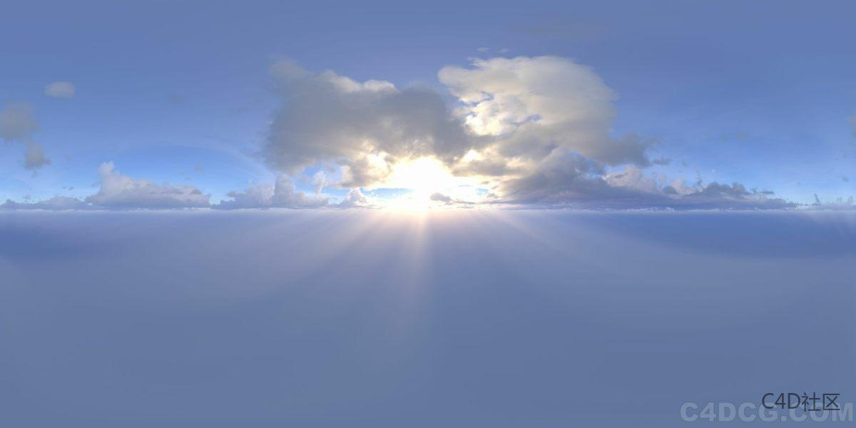 4K-HDRI-全景天空-太阳靠近云朵天空很甜