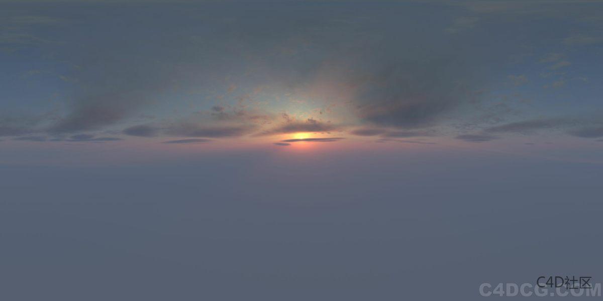4K-HDRI-全景天空-夕阳已经落山慢慢潜藏到云层中