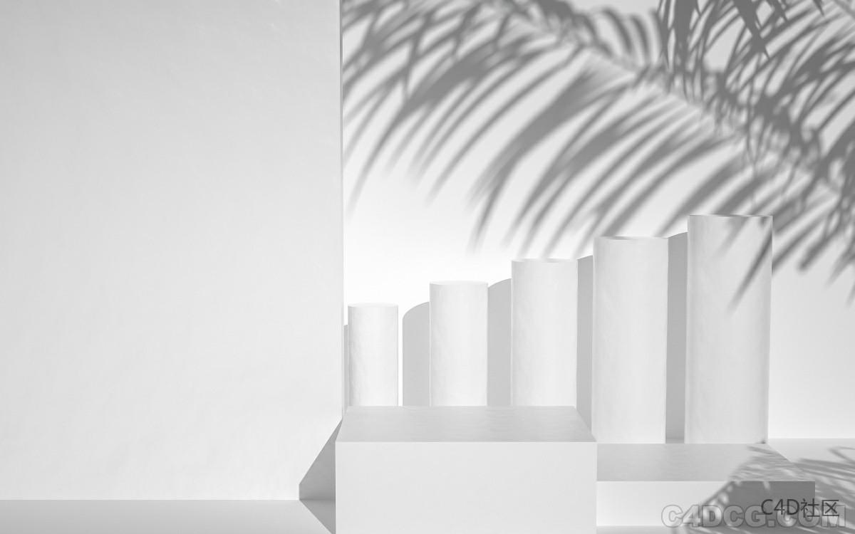 C4D电商场景-白膜植物叶子倒影场景