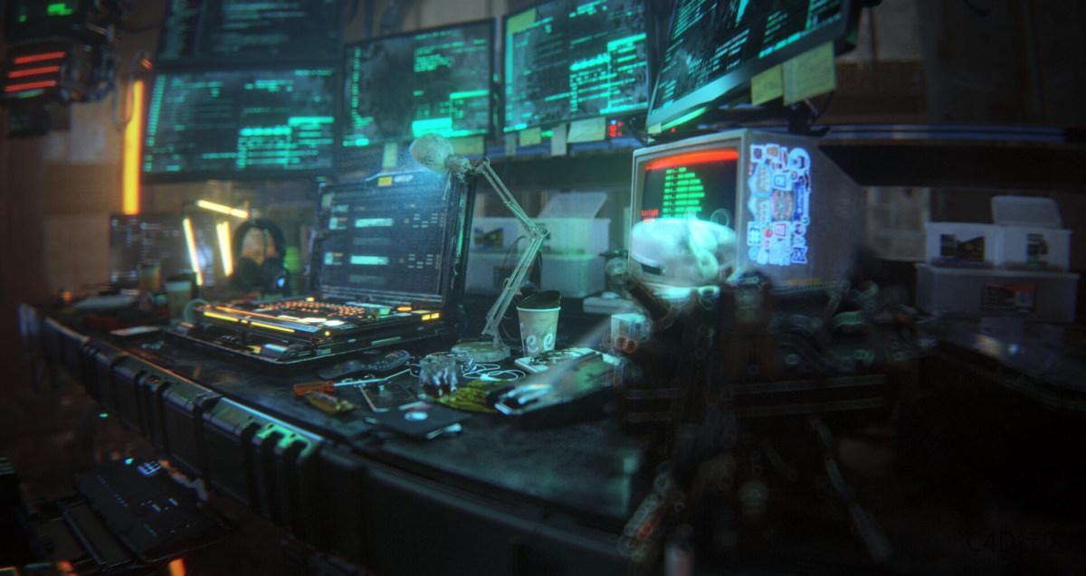 Redshift C4D工程 黑客科技感电脑数据工程