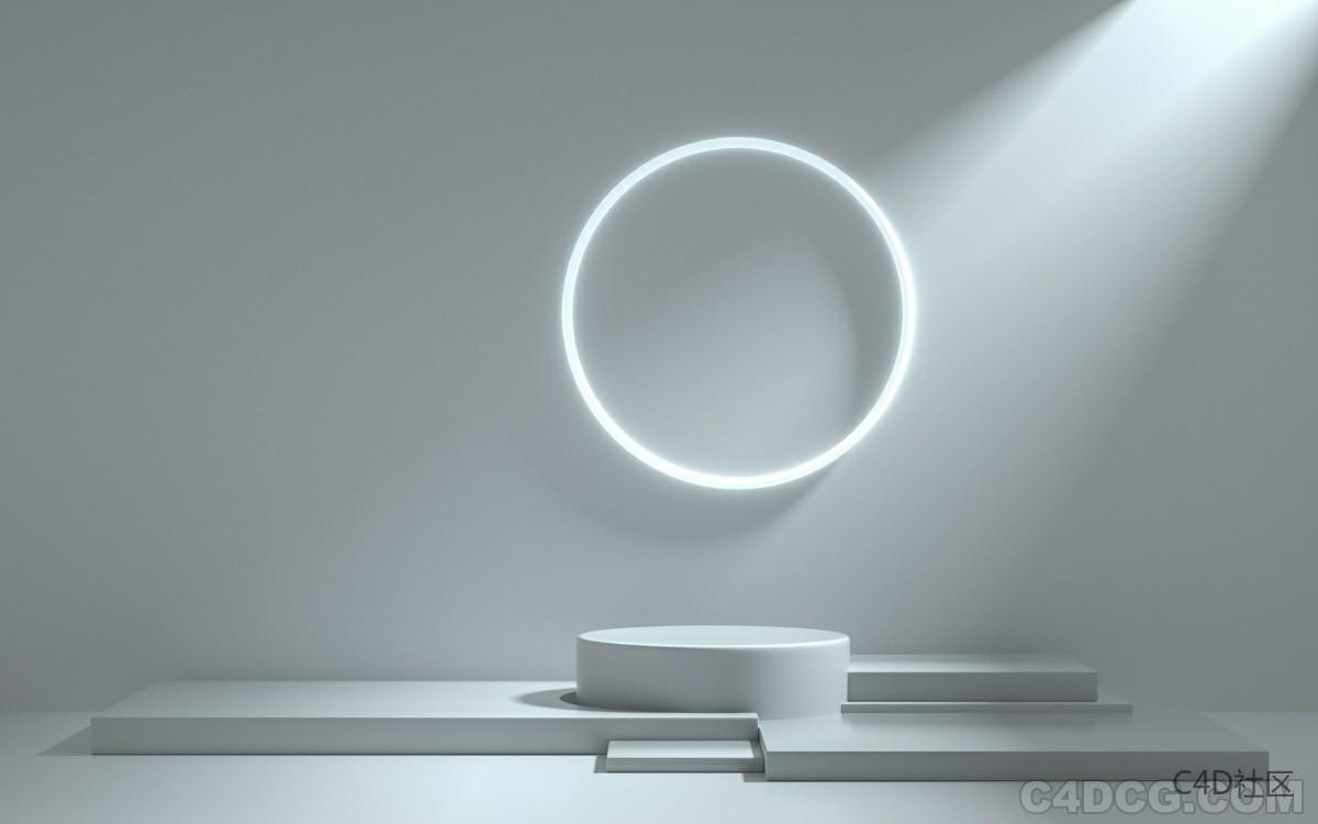 C4D电商场景-光影光环场景
