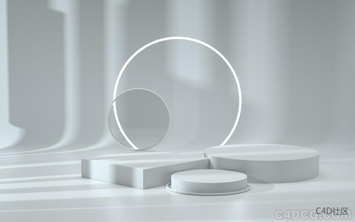 C4D电商场景-白模光影场景