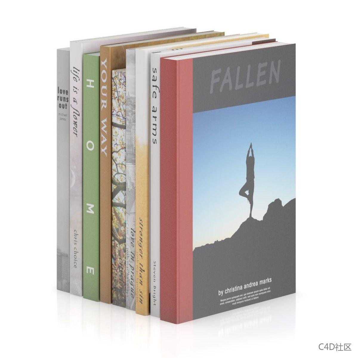 书籍模型-九本厚薄不一错落无序的书籍
