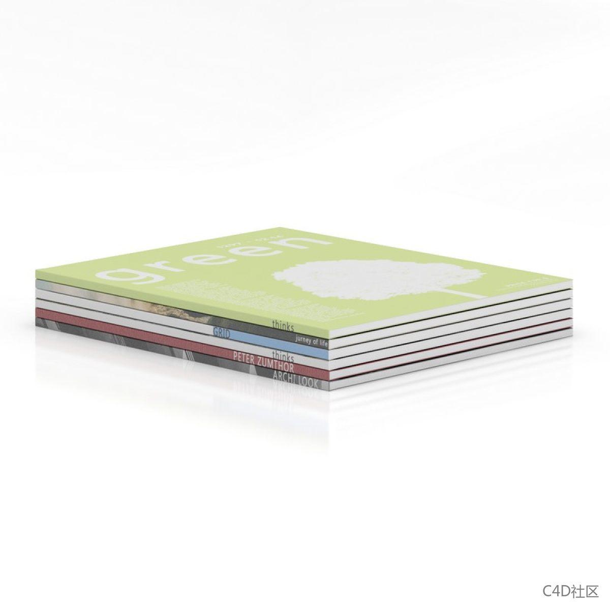 书籍模型-六本平躺的作业本