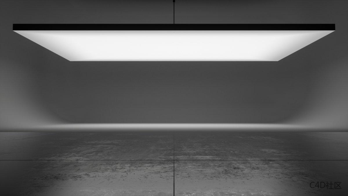 大空间场景模型-顶部巨大的平板灯