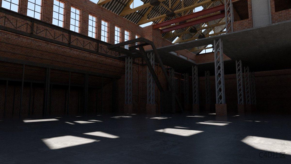 大空间场景模型-巨大的仓库工业风格太阳光