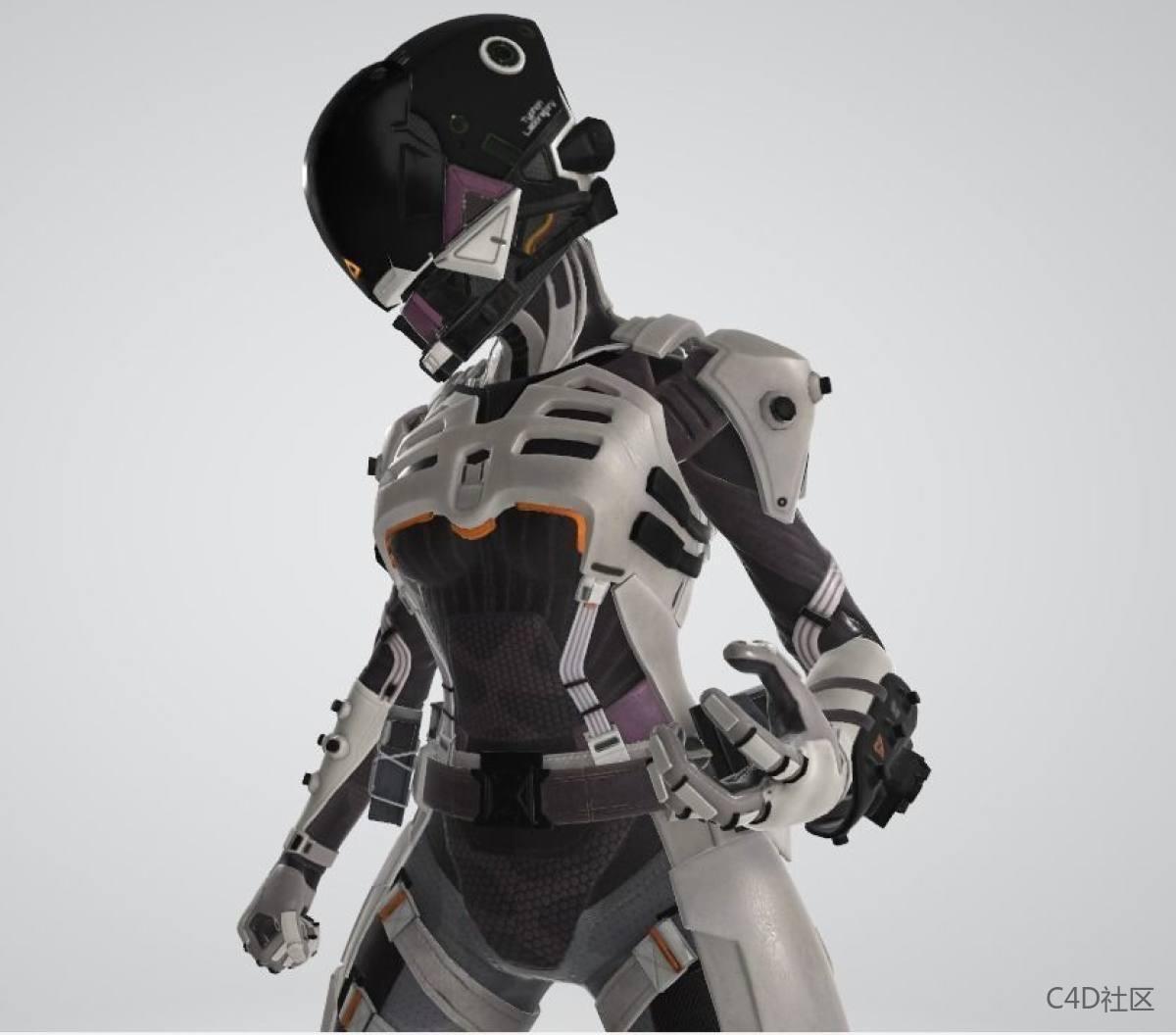 魅影机甲战术忍者FBX模型含贴图